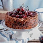 Classic fruit cake with salted maple syrup