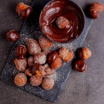 Cinnamon sugar doughnut holes with chocolate espresso ganache