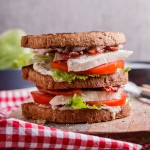 Turkey BLT club sandwich with jalapeno mayo