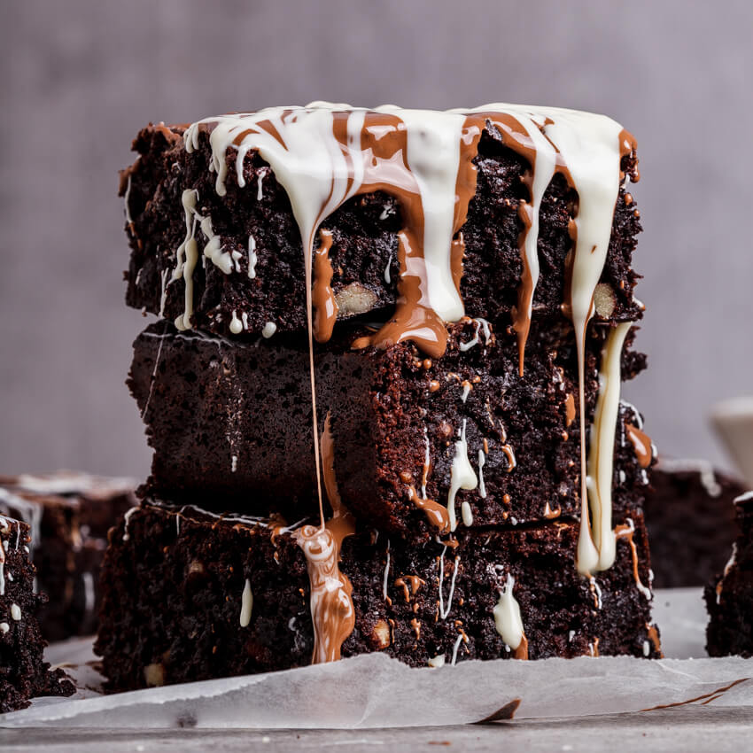 Triple chocolate coconut brownies