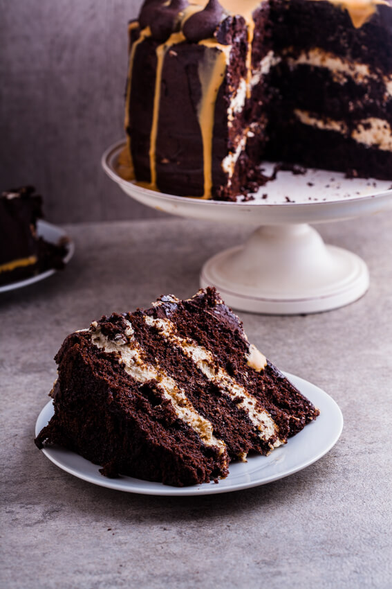 Chocolate Cake With Salted Praline Cream Filling And Dulce