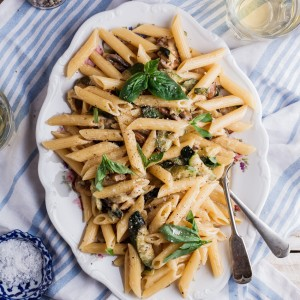 Zucchini and mushroom carbonara