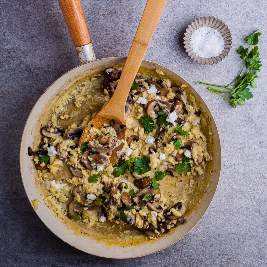 mushroom and goat's cheese scrambled eggs