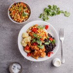 Crispy Caribbean chicken and rice bowls with grilled corn salsa