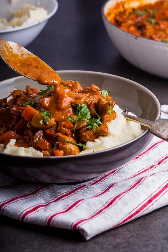 Chicken stew with garlic parmesan mashed potatoes