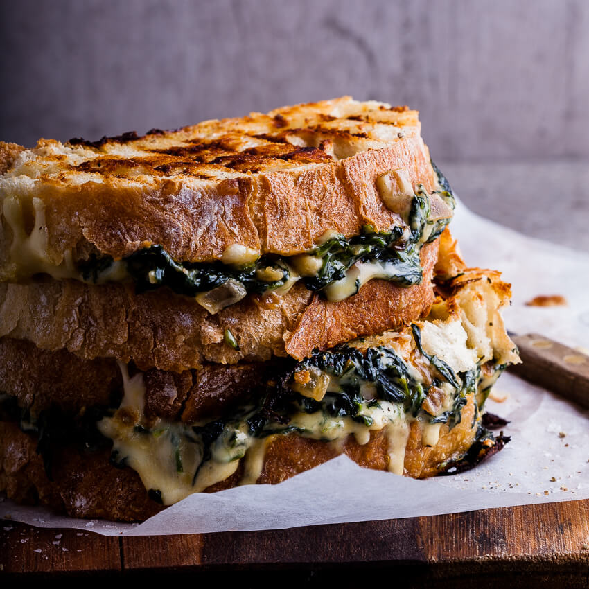 Crispy bacon  brie grilled cheese sandwich with caramelised