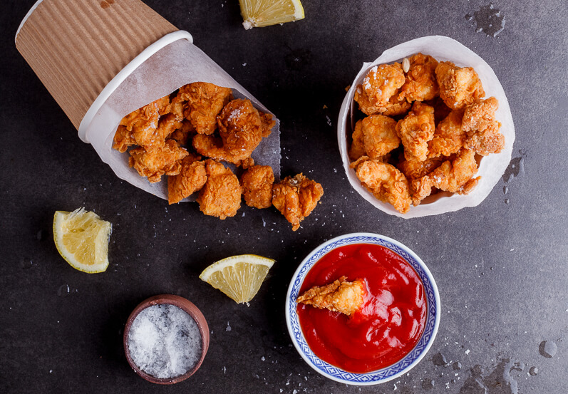 Crispy chicken pops