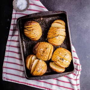 Hasselback potatoes with sriracha butter
