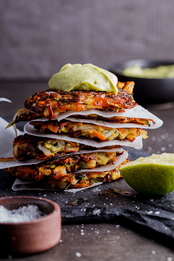 Vegetable Rösti with avocado cream