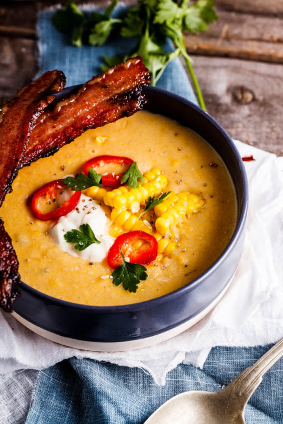 Corn chowder with bacon dippers