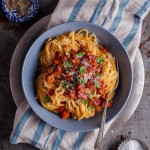 Creamy pumpkin pasta with bacon and crispy bacon