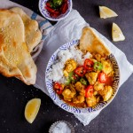 Prawn curry with homemade Naan bread