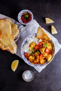 Prawn curry and Naan bread