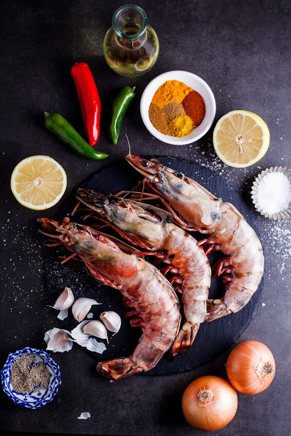 Ingredients for prawn curry.