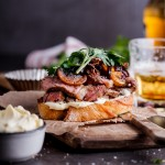 Steak sandwich with whipped goat's cheese butter