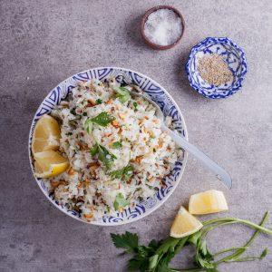 Almond, lemon and parsley pilaf rice