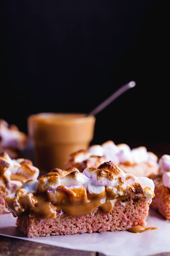 Chewy rice krispie treats topped with silky caramel and toasted marshmallows. A childhood treat dressed up.