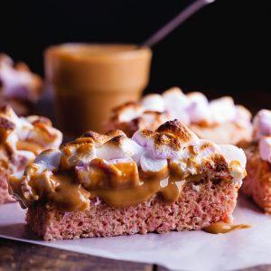 Caramel marshmallow rice krispie treats