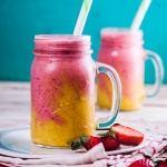 Creamy pineapple and strawberry breakfast smoothies