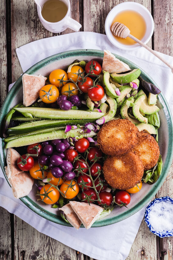 Greek salad with fried feta cheese