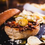 Slow-cooked shredded beef Sloppy Joes with pickled jalapeños