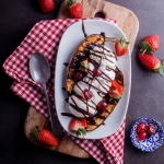 Grilled banana split sundaes