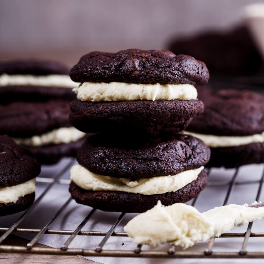 Chocolate wasted cookie sandwiches