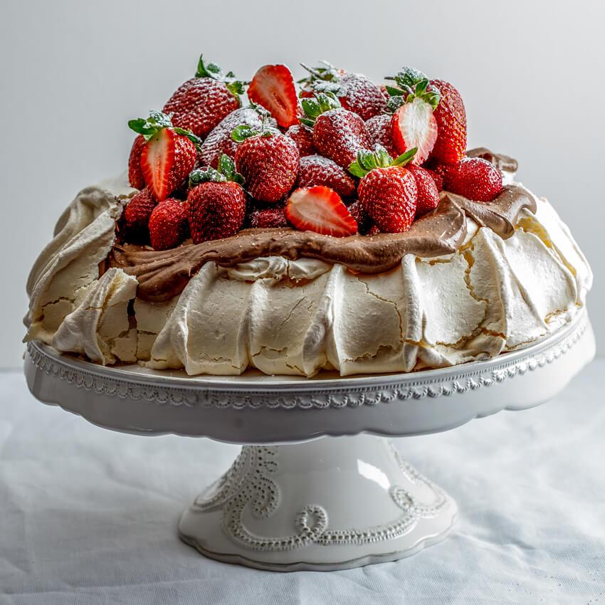 Chocolate Cake With Fresh Cream And Strawberries