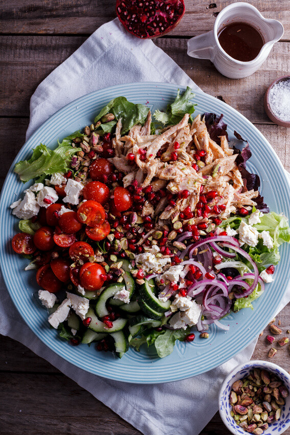 Leftover roast chicken is perfect used in this aromatic Moroccan chicken salad recipe. Juicy cherry tomatoes, crisp cucumber, pistachios and pomegranate rubies along with a spiced, fragrant dressing take this lunchtime staple to a whole other level.