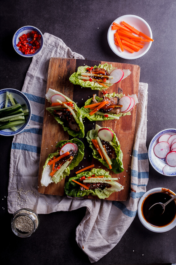 Sticky Chinese BBQ pork lettuce cups