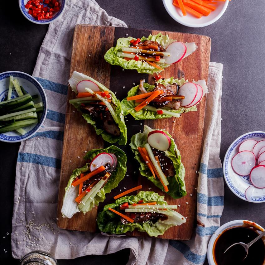 Asian barbeque pork wraps