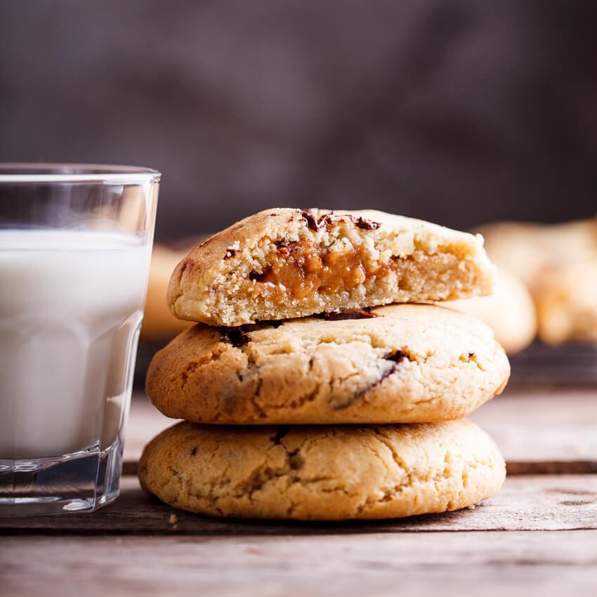 Caramel-stuffed choc chunk cookies
