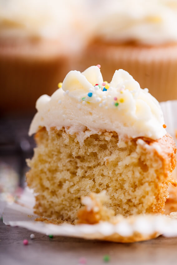 Classic vanilla cupcakes with whipped buttercream