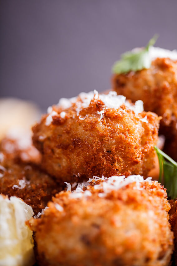 Mushroom arancini with roasted tomato sauce - Simply Delicious
