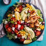 Peri-Peri chicken salad with charred corn