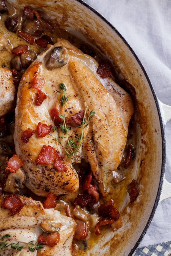Creamy bacon and mushroom chicken breasts