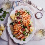 Greek orzo salad with grilled chicken