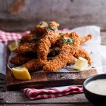 Corn flake crusted chicken strips with honey mustard sauce