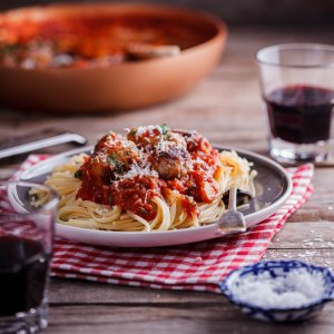 Easy pork sausage meatballs in tomato sauce