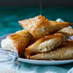 Greek Feta and phyllo pies with honey and oregano