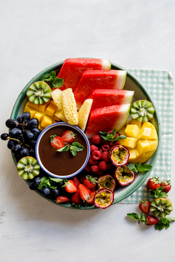 Fruit platter with coconut chocolate ganache