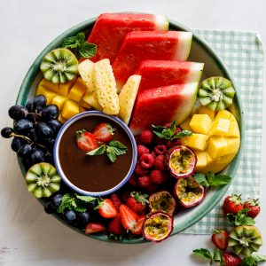 Fruit plate with coconut chocolate ganache