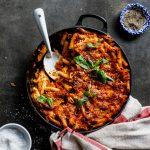 Easy cheese and tomato pasta bake