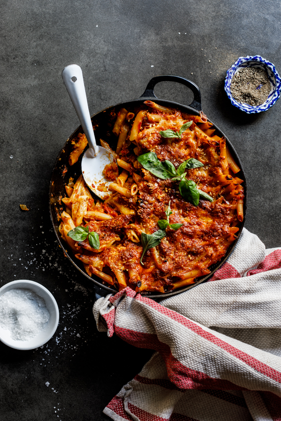 Easy cheese and tomato pasta bake