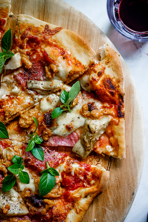 Salami, artichoke and sun dried tomato pizza