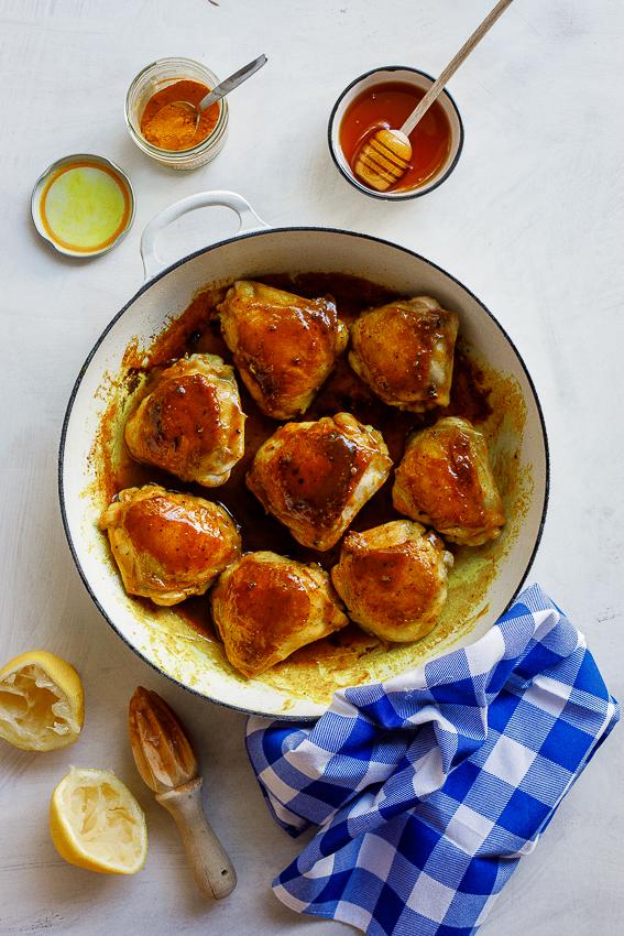 Sticky lemon-turmeric chicken