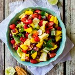 Summer fruit salad with lime-mint dressing