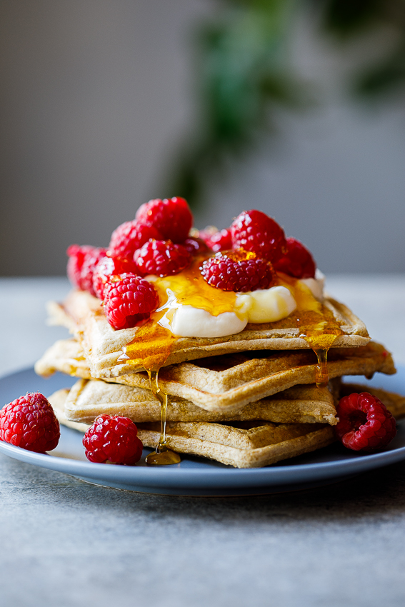 Easy healthy banana oat waffles