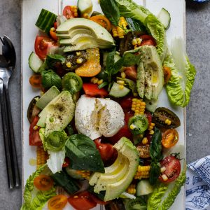 Farmers market salad with buffalo mozzarella