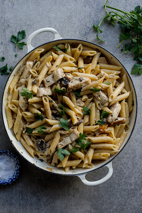 Coq au Riesling pasta